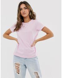 Camiseta con cuello redondo en rosa ASOS de color Pink