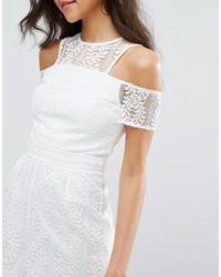 Miss Selfridge - White Lace Cold Shoulder Romper - Lyst