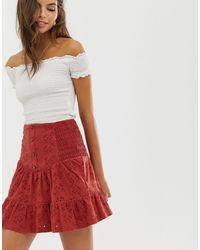Мини-юбка С Вышивкой Ришелье И Пуговицами ASOS, цвет: Red