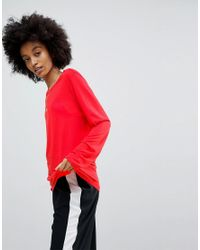 ASOS Red Asos T-shirt With Longline Sleeve In Lightweight Jersey