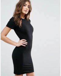 ASOS - Black T-shirt Open Back Mini Bodycon Dress - Lyst