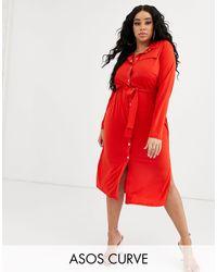Vestido camisero midi con cinturón ASOS de color Red