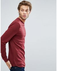 ASOS Red Longline Muscle Sweatshirt With Curved Hem & Insert for men