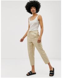 Pantaloni beige con pinces e coulisse di Monki in Natural