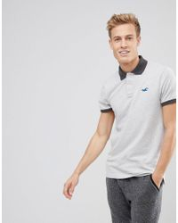 Hollister - Gray Stretch Pique Polo Seagull Logo In Light Grey for Men - Lyst
