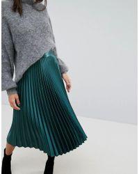 Whistles Green Satin Pleated Skirt