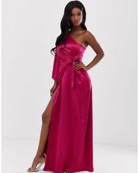 Missguided Multicolor One Shoulder Drape Maxi Dress