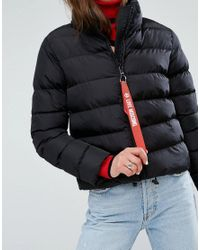 Love Moschino Black Tube Quilted Funnel Neck Jacket