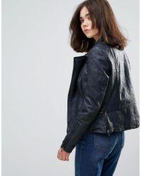 Muubaa - Blue Almora Leather Fitted Jacket - Lyst