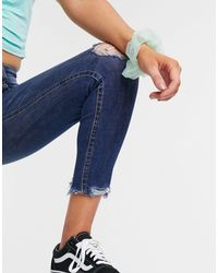 Pull&Bear Blue – Dunkelblaue Capri-Jeans mit mittelhohem Bund