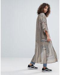 Glamorous - Brown Paisley Print Kimono - Lyst