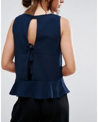 SELECTED Blue Femme Pepla Top With Bow Back