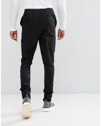 ASOS Tall Slim Joggers In Black With Ruched Detail for men