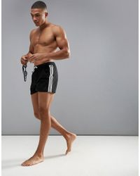 Adidas Swimming Shorts In Black With Stripe Branding In Black Ay4415 for men