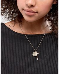 ASOS - Metallic Vintage Style Cross And Coin Pendant Necklace - Lyst
