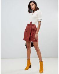 Vero Moda Red Button Front Belted Kilt Mini Skirt