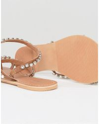 ASOS - Multicolor Faithfully Embellished Leather Flat Sandals - Lyst