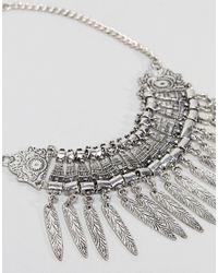 ASOS - Metallic Design Statement Textured Leaf Charm Necklace - Lyst