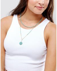 ASOS - Blue Multirow Bead Charm Choker Necklace - Lyst