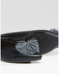 Lost Ink Black July Pom Pom Point Flat Shoes