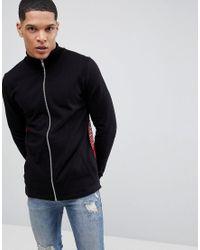 ASOS Longline Jersey Track Jacket In Black With Mesh Back for men