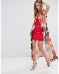 Liquorish Red Shift Dress With Overlay In Eastern Print