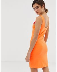 Weekday Orange Bubble Bodycon Jersey Dress
