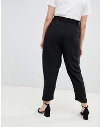 ASOS Black Asos Design Curve Woven Peg Trousers With Obi Tie