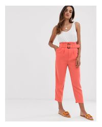 Stradivarius Multicolor Belted Tailored Trousers In Coral