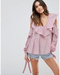 ASOS - Purple Cold Shoulder Blouse With V-neck And Ruffles - Lyst