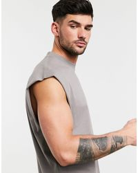 ASOS Natural Organic Oversized Vest for men