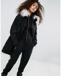 5f4c314c94a94 Lyst - ASOS Asos Oversized Parka With Padded Liner in Black