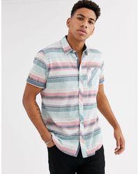 Tom Tailor – Kurzärmliges, gestreiftes Hemd in White für Herren