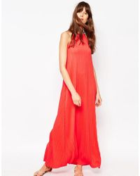 ASOS - Red Pleated Swing Maxi Dress - Lyst