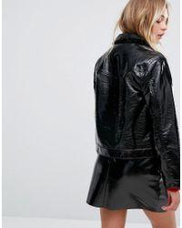 Monki - Black Patent Boxy Coat - Lyst