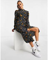 Платье Миди С Высоким Воротом И Цветочным Принтом -многоцветный AX Paris, цвет: Black