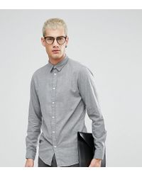 SELECTED Gray Slim Fit Shirt In Brushed Cotton for men