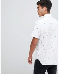 Hollister Slim Fit Short Sleeve Palm Tree Print Oxford Shirt With Button Down Collar In White for men