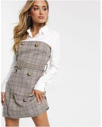 Платье-рубашка В Клетку С Поясом -мульти Missguided, цвет: Gray