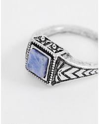 ASOS Ring in der Farbe Silber poliert mit Schmuckstein in Marine in Metallic für Herren