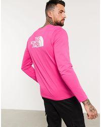Темно-розовый Лонгслив The North Face для него, цвет: Pink