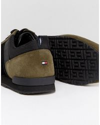 Tommy Hilfiger Green Maxwell Suede Sneakers In Olive for men