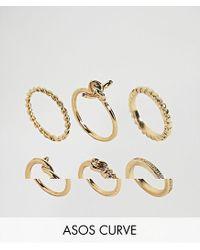 ASOS - Metallic Pack Of 6 Fine Twist Rings - Lyst