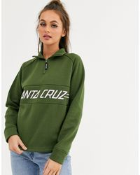 Pinline - Sweat-shirt à fermeture éclair 1/4 - Kaki Santa Cruz en coloris Green
