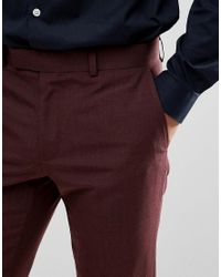 Moss Bros Red Moss London Skinny Suit Pants In Burgundy for men