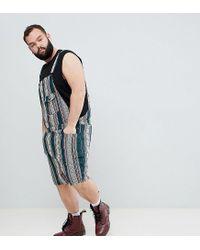 ASOS Design Plus Festival Slim Short Overalls In Green Abstract Print for men