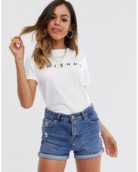 """T-shirt bianca in fibre sostenibili con scritta """"friends di New Look in White"""
