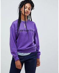 22cd018f0d Carhartt WIP Relaxed Sweatshirt With Logo in Purple - Lyst