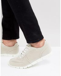 ASOS Asos Retro Trainers In Relaxed Off White Faux Suede for men