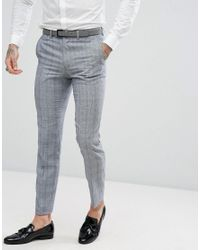 Rudie Black Twisted Check Skinny Fit Suit Trousers for men